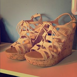 Charlotte Russe wedges. Color- tan.